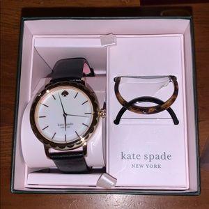 Kate spade morningside watch box set black leather